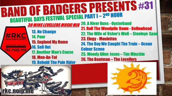 Band of BADGERS PRESENTS PLAYLIST PODCAST 31 part 1 2nd hour promo